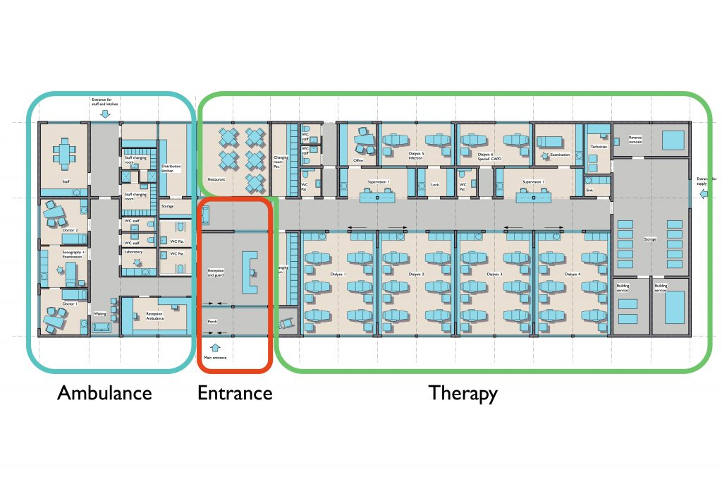 Dialysis Center Duende: Layout with subdivisions