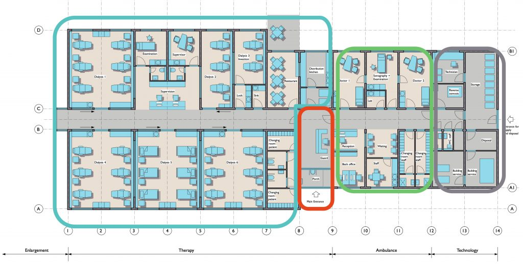 Dialysis center Plitvic: Layout with subdivisions